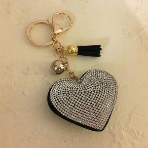 Accessories - Puffy Rhinestone Heart Purse Charm Key Ring Fob